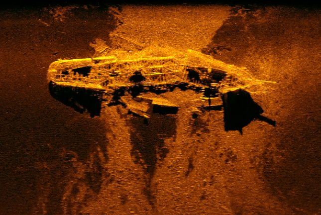 A sonar image shows one of two shipwrecks found in the search for the missing MH370 jetliner off the east coast of Australia in the Indian Ocean. Photo by Western Australian Museum/EPA-EFE