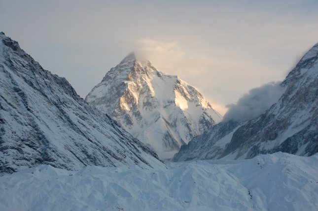 K2, a mountain peak on the Karakoram mountain range in Pakistan along the Pakistan-China border.Pakistani authorities Thursday declared three climbers dead after they went missing in early February after scaling the summit. Photo by Maria Ly/Wikimedia Commons