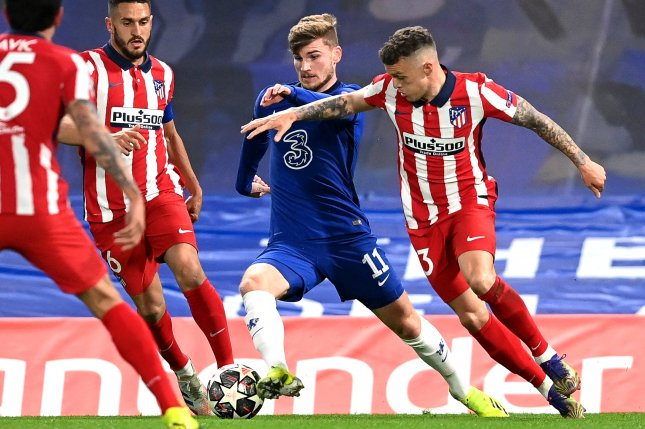 Chelsea striker Timo Werner (11) assisted his team's first goal in a win over Atletico in the Champions League round of 16 Wednesday in London. Photo by Neil Hall/EPA-EFE