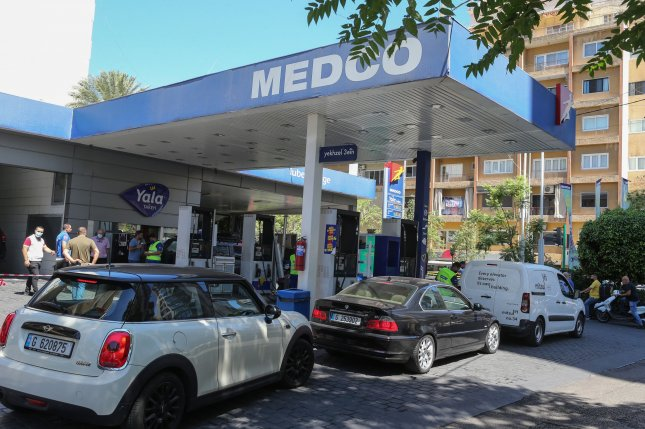 Motorists line up at a gas station to get fuel in Beirut, Lebanon, on June 15. The wait can still be several hours. File Photo by Nabil Mounzer/EPA-EFE