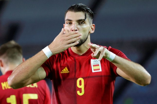 Spain's Rafa Mir scored a hat trick off the bench in a 5-2 win over the Ivory Coast in the quarterfinals of the men's soccer tournament at the 2020 Summer Games on Saturday in Miyagi, Japan. Photo by Spanish Football Federation/EPA