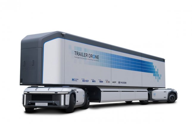 Hyundai Motor Group announced goal to have all of its commercial vehicles powered by hydrogen Tuesday after previewing the hydrogen trailer drone (shown) in a video. Photo courtesy of Hyundai