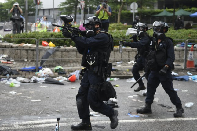 Police use rubber bullets on protesters during a rally against an extradition bill outside the Legislative Council in Hong Kong, China, Wednesday. The bill, scheduled for a second reading on Wednesday has faced immense opposition from pan-democrats, the business sector, and the international community with concern over lack of human rights protections in mainland China. Photo by Vernon Yuen/ EPA-EFE