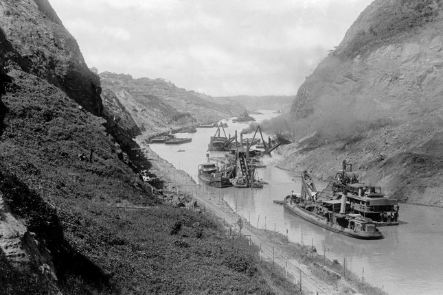 Construction of the Panama Canal, looking north at Gold Hill, from the Cucaracha Slide ca. 1912. On September 7, 1977, President Carter and Panamanian leader Omar Torrijos signed a treaty to transfer control of the Panama Canal from the United States to Panama. File Photo by Library of Congress/UPI