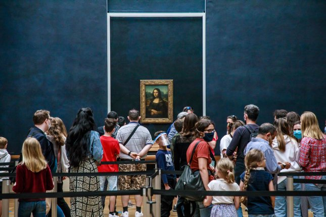 The Louvre reopened to guests on Monday with restrictions including keeping 30 percent of exhibits closed and new rules regarding face masks and social distancing. Photo by Christophe Petit Teson/EPA-EFE