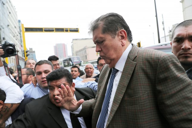 Former Peruvian President Alan Garcia arrives at the headquarters of the Public Prosecutor's Office in Lima, Peru, on Thursday. Three days later he sought asylum in the Embassy of Uruguay. Photo by Ernesto Arias/EPA-EFE