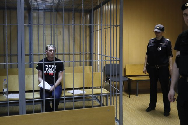 Hundreds of Russians were arrested in Moscow Wednesday during a protest over the way Meduza news project journalist Ivan Golunov was arrested. Photo by Sergie Ilnitsky/EPA-EFE