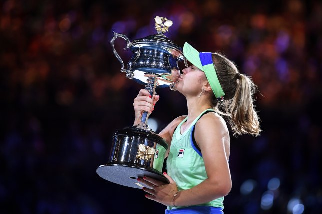 American Sofia Kenin was the last women's player to win a Grand Slam, beating Garbine Muguruza in the 2020 Australian Open final Feb. 1 in Melbourne, Australia. File Photo by Lukas Coch/EPA-EFE