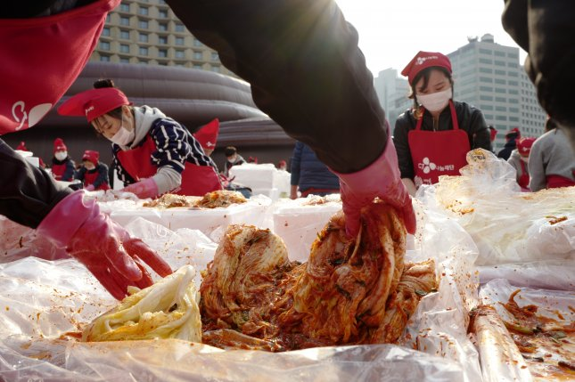 """A South Korean government decision to refer to the national dish kimchi as """"shinchi"""" or """"xinqi"""" is coming under criticism in the country. File Photo by Jeon Heon-kyun/EPA-EFE"""