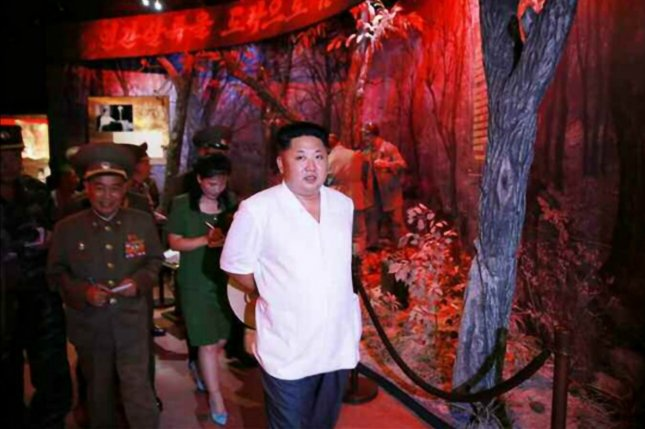 Kim Jong Un tours the Sinchon Museum of American Atrocities in 2015. The museum added new dioramas in order keep apace with rapidly evolving media, according to an Australian analyst. File Photo by Rodong Sinmun/EPA