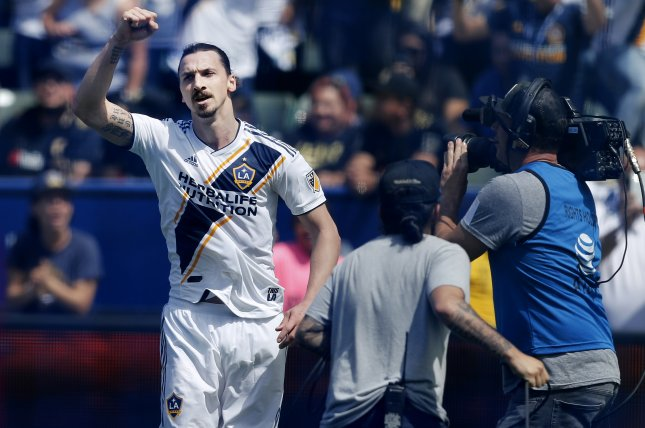 Los Angeles Galaxy striker Zlatan Ibrahimovic now trails Carlos Vela by two goals for the Major League Soccer lead. Photo by Paul Buck/EPA-EFE