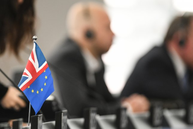 A British-EU flag is seen on a table Tuesday during a debate at the European Parliament in Strasbourg, France. Photo by Patrick Seeger/EPA-EFE