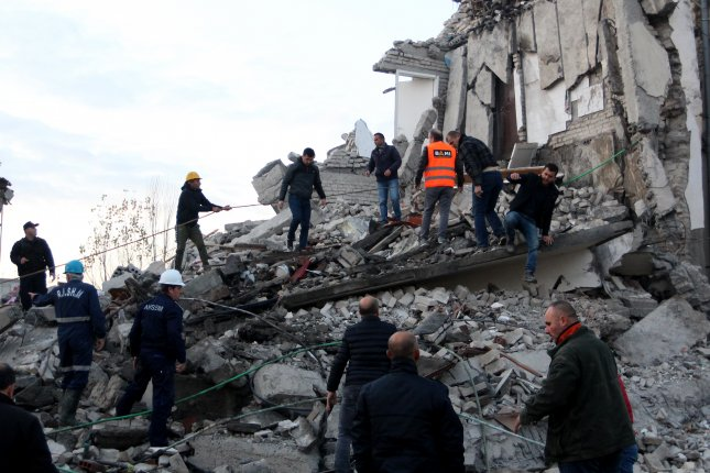 THe death toll from a 6.4 magnitude earthquake that struck Albania rose to 31 on Wednesday as crews from several nations continued to search for people underneath rubble. Photo by Malton Dibra/EPA-EFE