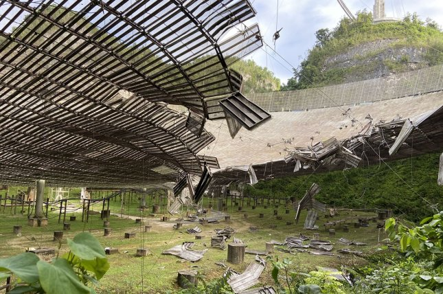 The Arecibo Observatory in Puerto Rico, the most powerful single-dish radio telescope in the world, was damaged Aug. 10 when an auxiliary cable that supports the suspended platform broke. Photo courtesy of the University of Central Florida