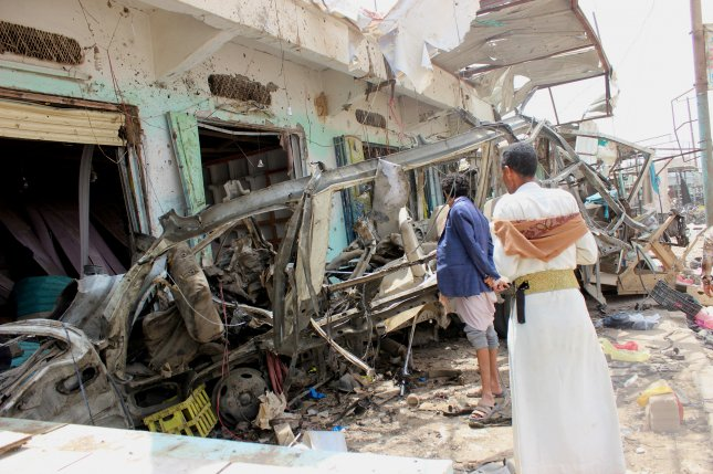 A Saudi-led airstrike Sunday hit a bus carrying children in a market in the northern Yemeni province of Saada, killing at least 50 people, officials said. Photo by EPA-EFE