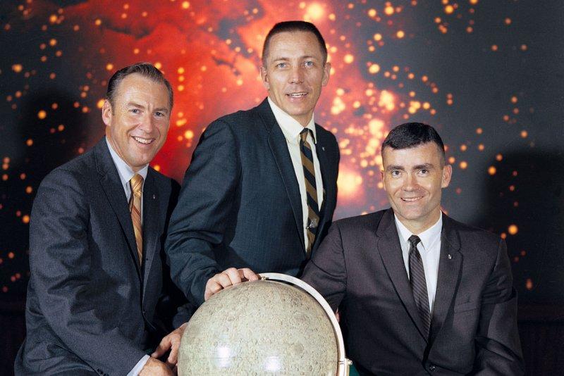 The Apollo 13 lunar mission crew were Commander James A. Lovell Jr. (L), command module pilot John L. Swigert Jr. (C) and lunar module pilot Fred W. Haise Jr. File Photo courtesy of NASA