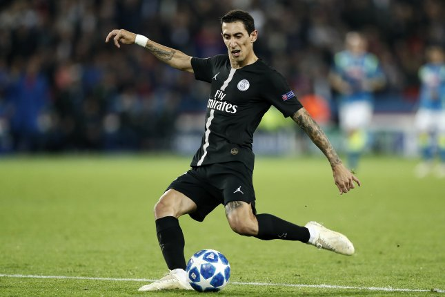 Argentine midfielder Angel di Maria was substituted out of PSG's game against Nantes in the 60th minute when he learned that his family home had been burglarized Sunday near Paris. Photo by Etienne Laurent/EPA-EFE