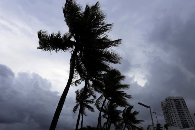 Palm trees flutter due to wind and rain in San Juan, Puerto Rico, on Wednesday. Officials said at least three people have died in Barbuda, St. Martin and St. Bart's as Hurricane Irma bore down on the Caribbean. Photo by Thais Llorca/EPA