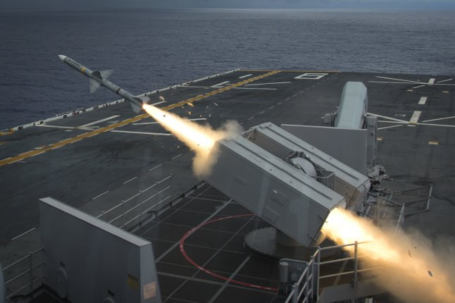 Amphibious assault ship USS Bonhomme Richard fires a NATO Sea Sparrow surface-to-air missile to intercept a remote-controlled drone as part of Valiant Shield 2016. Photo by Mass Communication Specialist 2nd Class Diana Quinlan/U.S. Navy