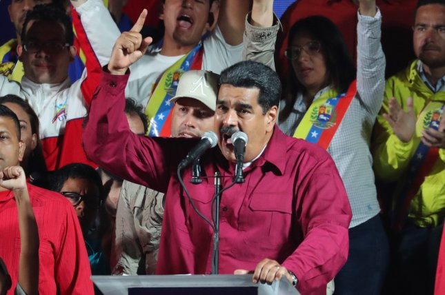 Venezuelan President Nicolas Maduro speaks after the publication of the electoral results in Caracas, Venezuela, on May 20, 2018. Maduro said Sunday that the United States has orchestrated a coup to remove him as the nation's leader in favor of head of the opposition-led National Assembly Juan Guaido. File Photo by Miguel Gutierrez/EPA-EFE