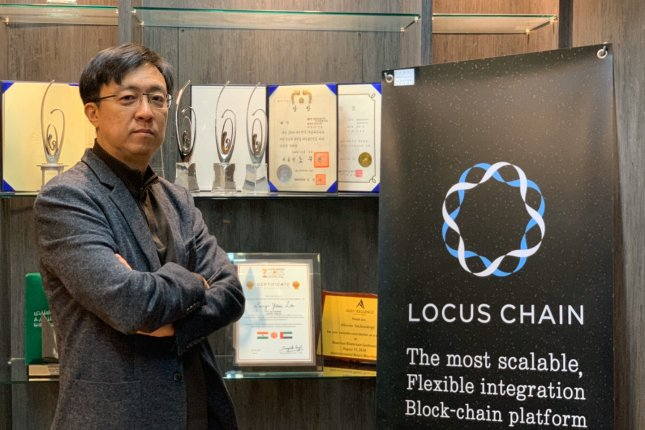 Bloom Technology CEO Lee Sang-yoon touts his new Locus Chain technology, which aims to speed up blockchain transactions. Photo by Ryoo Soon-yeol/UPI News Korea