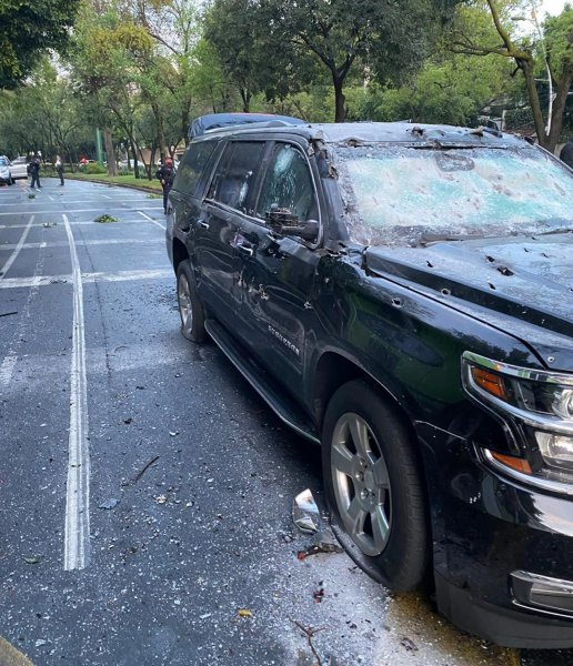 A vehicle in which Mexico City's security chief, Omar Garcia Harfuch, was riding, is riddled with bullet holes June 26, 2020. File Photo courtesy of the Mexico Prosecutor OfficeEPA-EFE