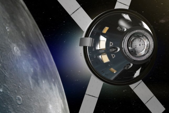 An illustration shows NASA's Orion spacecraft orbiting the moon, which could happen as early as late 2021. Image courtesy of NASA