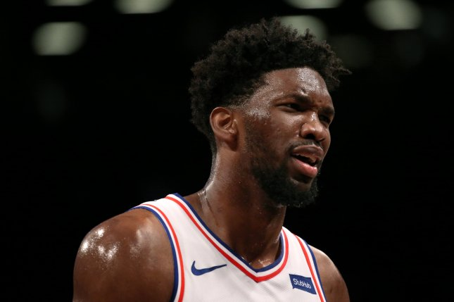 Philadelphia 76ers center Joel Embiid has missed the team's last two playoff games. Photo by Peter Foley/EPA-EFE
