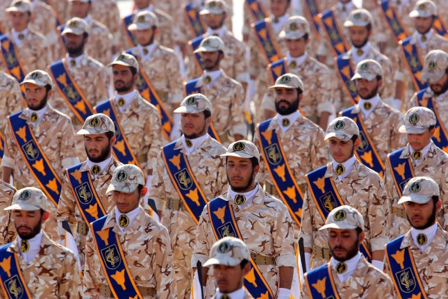 Iranian revolutionary guard soldiers march during an annual military parade in Tehran, Iran. File Photo by Abedin Taherkenareh/EPA-EFE