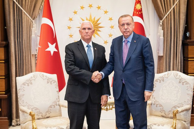U.S. Vice President Mike Pence meets with Turkish President Recep Tayyip Erdogan in Ankara, Turkey, on Thursday. Photo courtesy D. Myles Cullen/White House/Pool