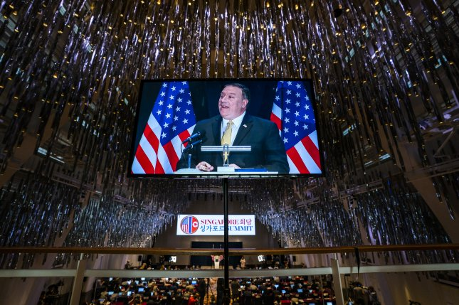 U.S. Secretary of State Mike Pompeo is seen in a television monitor as speaks to the media about the upcoming meeting between U.S. President Donald J. Trump and North Korean leader Kim Jong Un in the J.W. Marriott in Singapore, on Monday. Photo by Jim Lo Scalzo/EPA-EFE