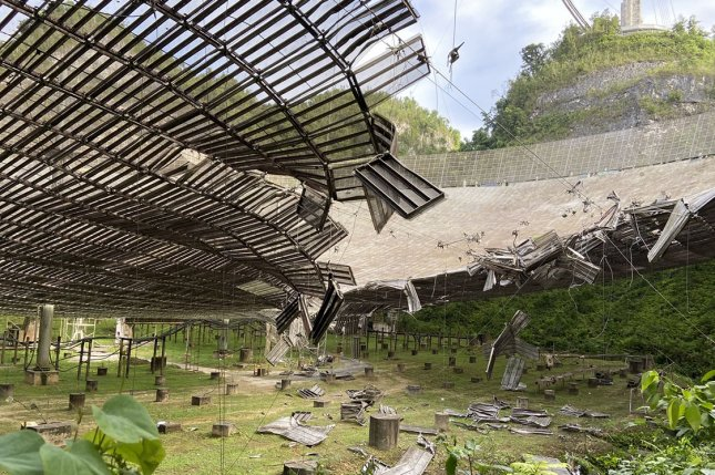Arecibo Observatory in Puerto Rico, the most powerful single-dish radio telescope in the world, was damaged August 10 when an auxiliary cable that supports the suspended platform broke. On Tuesday, the entire dome collapsed. File Photo courtesy of University of Central Florida