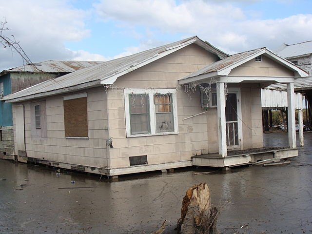 A house in Isle De Jean Charles in Terrebonne Parish, Louisiana, after it was hit by Hurricane Gustav in September 2008. Much of the land in the surrounding area has been waterlogged by subsidence, erosion and sea rise, slowly forcing the Biloxi-Chitimacha-Choctaw Indians to leave. Photo by Karen Apricot/Flickr