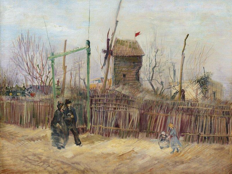 Impasse des Deux Frères et le Moulin à Poivre (Street scene in Montmartre) (1887) by Vincent van Gogh fetched $15.4 million at auction Thursday. Image courtesy of Sotheby's