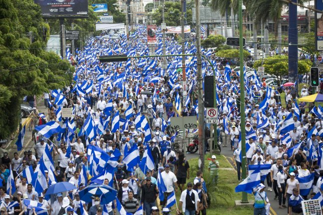 Protesters participate in an anti-government demonstration Managua, Nicaragua, on July 12, 2018. A United Nations report released on Wednesday said there have been 300 killings and numerous human rights violations in a four-month crackdown. File Photo by Jorge Torres/EPA-EFE