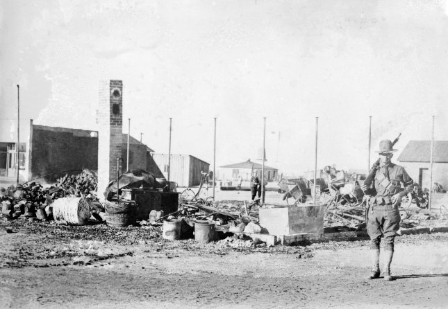 Photograph shows the aftermath of Pancho Villa's raid on Columbus, New Mexico which took place on March 9, 1916 during the Mexican Revolution. File Photo by Library of Congress/UPI