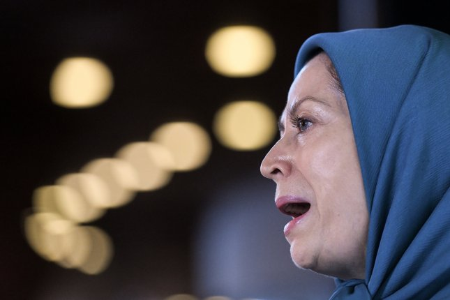 Maryam Rajavi, president of the National Council of Resistance of Iran, speaks at a press conference at the Council of Europe in Strasbourg, France, in 2018. File Photo by Patrick Seeger/EPA-EFE