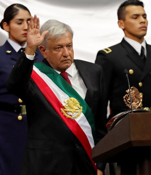 The new President of Mexico, Andres Manuel Lopez Obrador, takes oath during his investiture ceremony, at the Mexican Congress, in Mexico City, Mexico, Saturday. Photo by Jose Mendez/EPA-EFE