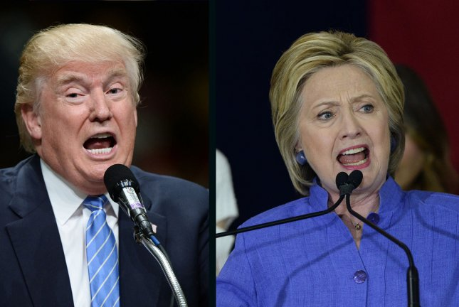 Hillary Clinton leads Donald Trump by 2 percentage points in the latest UPI/CVoter daily presidential tracking poll. UPI file photos