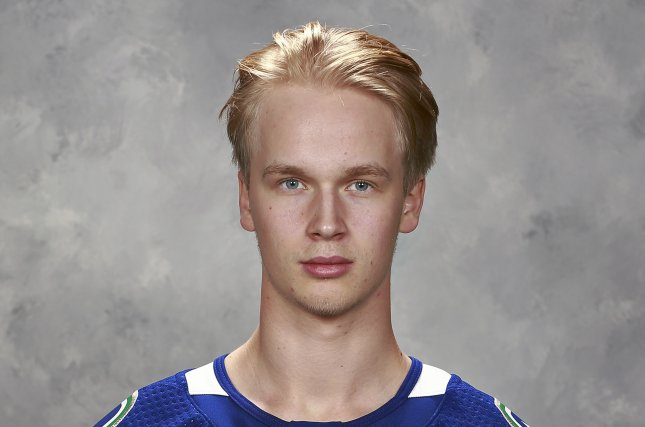 Elias Pettersson of the Vancouver Canucks returned from an injury and scored against the Detroit Red Wings on Sunday. Photo courtesy of Jeff Vinnick/NHLI