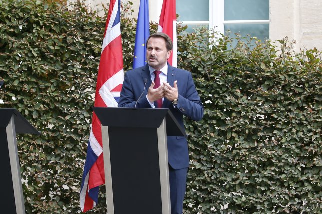 Luxembourg Prime Minister Xavier Bettel has been hopsitalized with COVID-19. File Photo by Julien Warnand/EPA-EFE