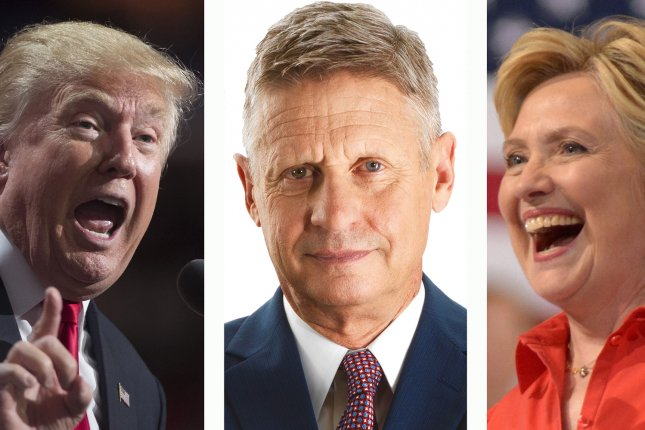 From left, Republican presidential nominee Donald Trump, Libertarian Party nominee Gary Johnson and Democratic Party nominee Hillary Clinton, each have different ideas about how to create jobs in the United States. UPI File Photos