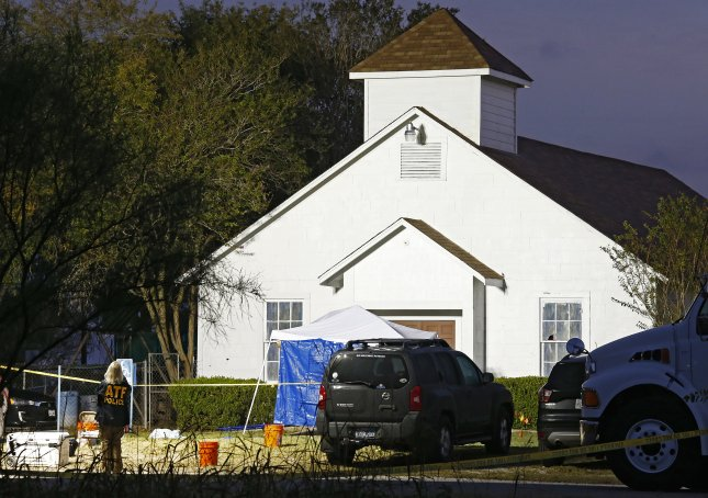 Relatives of a family of eight killed during the Mass shooting at the First Baptist Church in Sutherland Springs, Texas, filed a wrongful death claim against the U.S. Air Force for neglecting to report gunman Devin Kelley's domestic violence conviction to a federal agency. Photo by Larry W. Smith/EPA