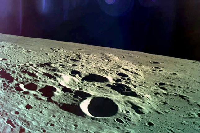 Israel Aerospace Industries released a photo showing the moon taken by the Beresheet spacecraft before it crashed in the lunar surface on Thursday. Photo courtesy Israel Aerospace Industries/EPA