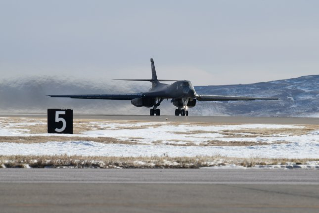 A B-1B Lancer takes off from Ellsworth Air Force Base, S.D., Dec. 9, 2019. Photo by Christina Bennett/U.S. Air Force