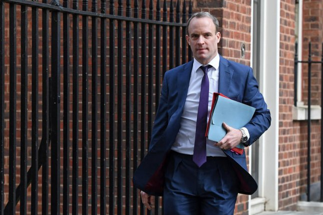 British Foreign Secretary Dominic Raab, shown near 10 Downing Street in London on January 28, said Sunday that Brexit talks with the European Union are in their last week or so. Photo by Andy Rain/EPA-EFE