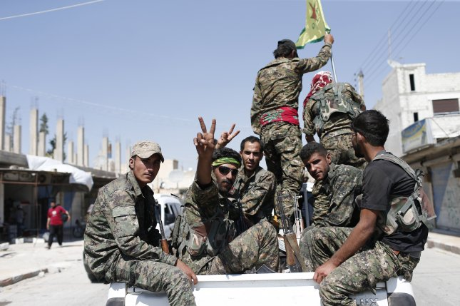 The Syrian Democratic Forces, which is made up of militias including the Kurdish People Defense Units, or YPG, militia, controls about 80 percent of the city of al-Tabqah in its offensive to capture Raqqa from the Islamic State, a monitoring group said. File Photo by Sedat Suna/EPA