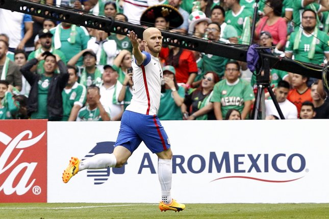 Michael Bradley of the USA celebrates after scoring against Mexico during a CONCACAF FIFA World Cup Russia 2018 qualifying soccer match between Mexico and the USA Sunday at Azteca Stadium in Mexico City. Photo by Jorge Nunez/EPA