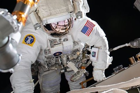 NASA astronaut Chris Cassidy is shown on a spacewalk outside the International Space Station on June 16. Photo courtesy of NASA