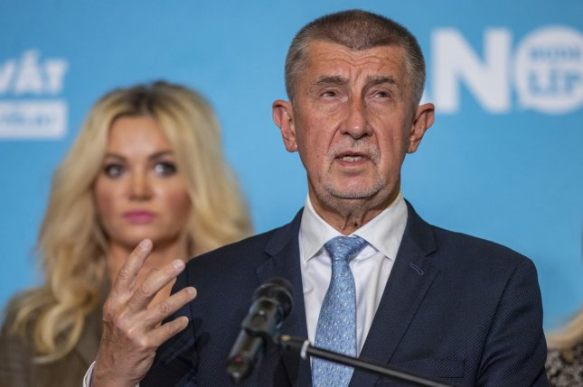 Czech Prime Minister Andrej Babis speaks at a press conference during an election event held by his ANO party Saturday in Prague, Czech Republic. Photo by Martin Divisek/EPA-EFE